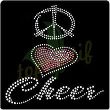 Bling Crystal Peace Love Cheer Rhinestone Motif For Ts Hoodies