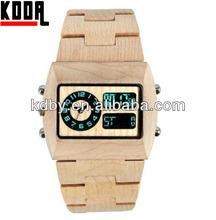 Dual Time Quartz and Digital Movemet Wooden Watch