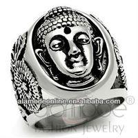 Religion buddha shaped stainless steel men ring