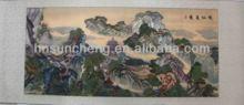 Landscape silk painting scroll-100% handmade silk embroidery wall decor