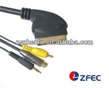 scart plug to RCA+S-VHS plug+3.5mm stereo plug cable