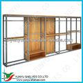 Clásico de madera y metal góndolas/mostradores/expositores para la ropa