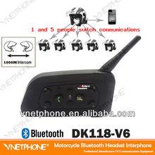 DK118-V6 6 riders Bluetooth Motorcycle Interphone/BT intercom/6 riders interphone/bluetooth interphone/bluetooth walkie talkie