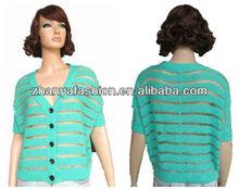 Lady's 2014 fashion hollow out design metallic yarn fashion stripe knitwear