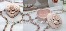 Ceramic multiduty heart shaped box carving flower jewellery box wedding favors candy box
