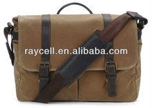 cotton vintage waxed canvas camera messenger laptop shoulder bag with leather trims