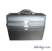 Black PU leather pilot travel bag Business pilot travel case eminent pilot case