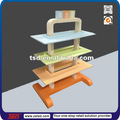 Tsd-w785 colorido pó revestido de madeira mdf baby calçados display/madeira display de gôndola/varejo display de gôndola stand