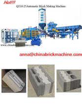 QT10-15 Automatic concrete cement block brick making machine production line