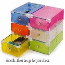 6pcs/lot Transparent colorful Foldable Storage box /plastic clear shoes storage box drawer type