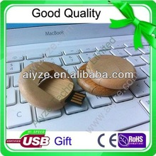 OEM round shape Natural wooden 1gb twist usb flash memory 2gb 4gb 8gb 16gb (aiyze factory Welcome to order)