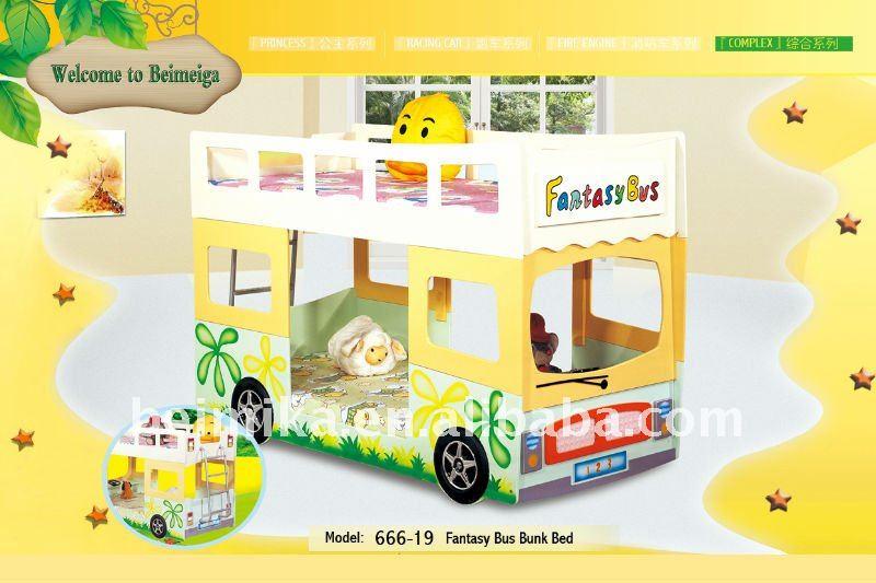 Fantaisie belle Stronge MDF Bus lits superposés pour garçon et fille 666 - 19