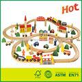 100 piezas de madera del tren de juguete de madera