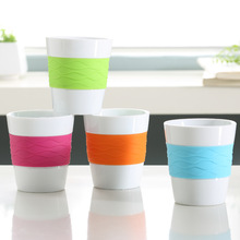 170cc reusable ceramic coffee cups with colorful silicone band