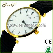 ultrathin wrist watches fashion watch YB15071 high quality genuine leather watch with gold platting case