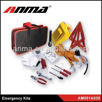Tow rope,warning triangle,flashlight,pressure gauge,cotton glove emergency roadside kit for led tube