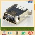 Mini usb tipo- b hembra 5-pin dip conector del zócalo para tomas de pcb