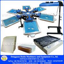 NS606-ESU Hand Floor type 6 color 6 workstation silk screen printing press printer with some screenprinting supplies kit