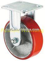 Heavy Duty Iron Core Polyurethane Fixed Industrial 40mm twin wheel caster