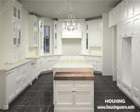White solid wood kitchen design, classic white customized kitchen cabinets, free kitchen design