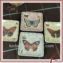 Small Square Butterfly Design Custom Ceramic Dish