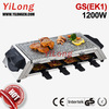 Electric stone grill for 8 persons(BC-1008H6S1),black/1200w/stone top plate/8 small raclette pans