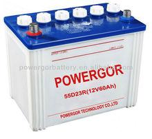 55D23L 12v 60ah lead acid dry battery