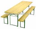 He-203, tavolo in legno pieghevole birra set/birra tavolo e panca/legno giardino/patio/tavolo esterno set