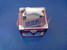 Acrylic cosmetic box with lock and handle/aluminum lock box