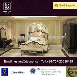 classic solid wood carve villa furniture bedroom E03-001