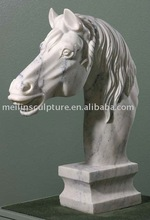 Natural white marble hand carved horse head sculpture