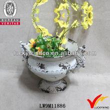 Pedestal Rust White Decorative Indoor Herb Garden Planter Pots & Urns