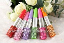 hot sale high quality lipstick shape ballpoint pen with reinstone