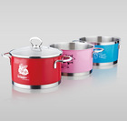 Charms color enamel cookware aluminium cooking pot set with metal lid