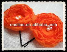 orange flower hair pins,flower bobby pins,bridesmaid hair accessories