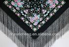 Hand embroidery silk flamenco shawl manton with fringes-135*135cm