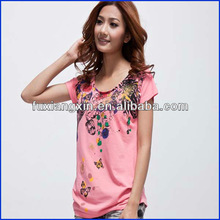 2014 OEM popular 100% cotton short sleeve printed women tshirt