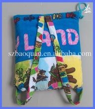 100%cotton reactive printed folding beach towel backpack/ beach towel bag