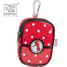 printed shining PVC fashion camera bag in red polka dot with logo