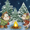 boy and girl happy christmas led canvas