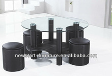 home furniture glass top coffee table with stools