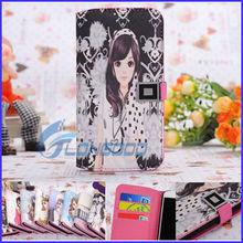 Hot Korean Girl Horizontal Flip Button Leather mobile phone case for samsung galaxy s4