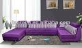 En forma de L de madera tapicerías de automóvil sofá para habitación de hotel / de color púrpura de madera sala de estar sofá con suave cojín SO-2013-06
