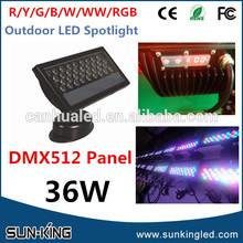 High quality 36w dmx 512 wall washer led light, rgb floodlight 36watts, IP65 outdoorled flood light 36x1w