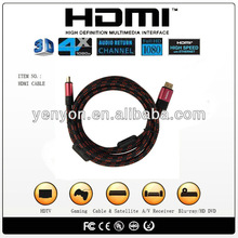 Certificated high quality HDMI cable,1080P,3D, for Blu-ray player,PS3 &HDTV with cotton mesh