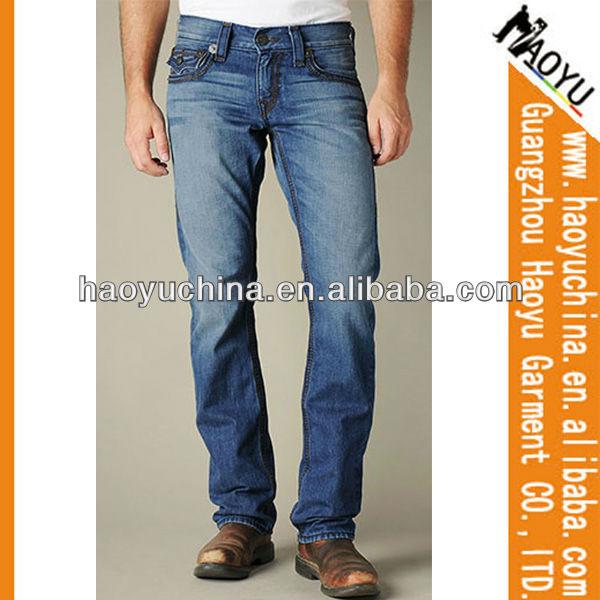 Cuadros verdaderos de consoladores para hombre pantalones vaqueros bordados pantalones vaqueros de diseño del surtidor de china ( HYM297 )