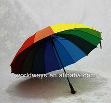 Straight decorative promotional gifts 2014 custom 16 panel colored rainbow umbrella good quality