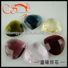 heart shape double checkerboard cut glass gems