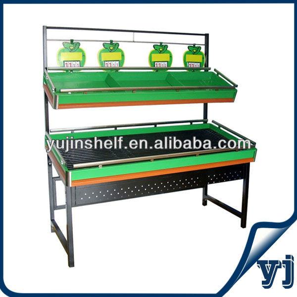 hot sell two layers metal fruit vegetable display rack