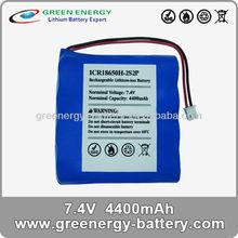 li -ion e-cigarette 18650 rechargeable battery packs for wii 7.4v 4400mah